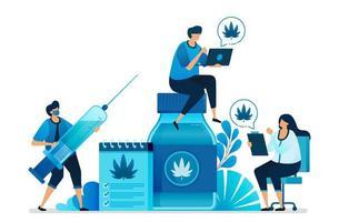 cannabis en marihuana-illustraties voor gezondheidsonderzoek. ganja is gezondheidsartikelen, medicijnen, oliën en kruiden. kan worden gebruikt voor bestemmingspagina, website, web, mobiele apps, flyer, banner, sjabloon, poster vector