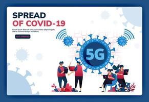 bestemmingspagina vectorillustratie van 5g-internetverbinding ter ondersteuning van activiteiten tijdens de covid-19-viruspandemie. symbolen en iconen van virussen, netwerken, wifi, verbindingen. web, website, banner vector