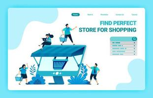 bestemmingspagina van e-commerce online met een winkelwagenmetafoor en monitor met een dak. groothandel en detailhandel online winkels. vector illustratie ontwerpsjabloon voor web, websites, site, banner, flyer
