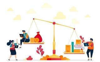 last van onderwijskosten die metafoor zijn door schalen, boeken en munten of geld. duur onderwijs, investeren in onderwijs. vectorillustratie voor website, mobiele apps, banner, sjabloon, poster vector