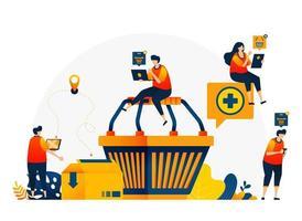 illustratie van winkelwagen met mensen die willen winkelen. e-commerce met bezorg- en kartondiensten. vector ontwerpsjabloon voor bestemmingspagina, web, websites, site, banner, flyer