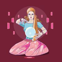 Illustratie van Fortune Teller vrouw lezing toekomst op magische kristallen bol vector