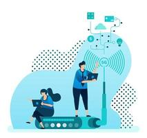 vectorillustratie voor 5g-router en technologie om de netwerksnelheid, de stabiliteit van de wifi-internetverbinding te verhogen. ontwerp kan worden gebruikt voor bestemmingspagina, sjabloon, ui ux, web, website, banner, flyer