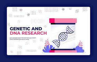 bestemmingspagina vectorillustratie van genetisch en dna-onderzoek voor medisch leren en medicijnontwikkeling. kan worden gebruikt voor website web mobiele apps poster flyer achtergrond element banner sjabloon