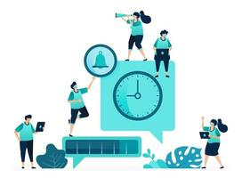 vectorillustratie van vertraagde gespreksmetaforen. berichtplanning. tijd voor voortgang van berichtbezorging. vrouwelijke en mannelijke arbeiders. ontworpen voor website, web, bestemmingspagina, apps ui ux, poster, flyer vector