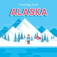 Ansichtkaart Van Alaska In Platte Vector Ontwerp