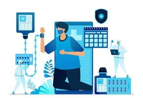 vectorillustratie van mobiele gezondheidszorgtoepassing met gezondheidsprotocollen. artsen en medici die pbm gebruiken. kan worden gebruikt voor bestemmingspagina, website, web, mobiele apps, flyer, banner, sjabloon, poster vector