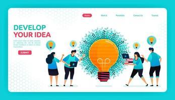 vectorillustratie van het ontwikkelen van ideeën en gedachten met samenwerking en discussie. open-minded om oplossingen te vinden. grafisch ontwerpsjabloon voor banner, flyer, brochure, omslag, tijdschrift, print