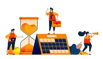 plannen en plannen op kalender. aftellen met een zandloper. klassieke klok. vector illustratie concept kan worden gebruikt voor bestemmingspagina, sjabloon, ui ux, web, mobiele app, poster, banner, website, flyer