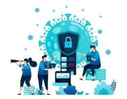 vectorillustratie van gegevensencryptie en beveiliging om vertrouwelijke informatie van covid-19-virus en vaccins te beschermen. virus document coderingspictogram en symbool. bestemmingspagina, web, website, banner vector