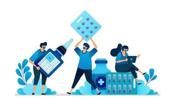 vectorillustratie van geneesmiddelen voor ziekten en vaccinaties. plat symbool en pictogram voor drugs. gezondheidsapotheek. kan worden gebruikt voor bestemmingspagina, website, web, mobiele apps, flyer, banner, sjabloon, poster vector