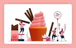 halal voedsel menu illustratie van zoete aardbeien cupcake. kook chocoladewafelsnacks voor het toppen van muffins. ontwerp kan worden gebruikt voor website, web, bestemmingspagina, banner, mobiele apps, ui ux, poster, flyer