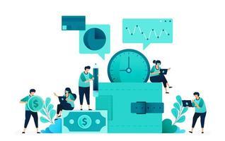 vectorillustratie van sparen en investeren met de portemonnee-metafoor. financiële en financieringsanalyse. groep vrouwen en mannen werknemer. ontworpen voor website, web, bestemmingspagina, apps, ui ux, poster, flyer vector
