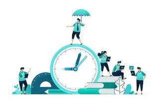 vectorillustratie van studietijd berekenen voor studenten. selectie en planning van onderwijstermijnen. vrouwelijke en mannelijke arbeiders. ontworpen voor website, web, bestemmingspagina, apps, ui ux, poster, flyer vector