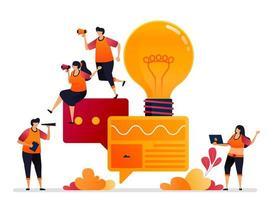 vector illustratie van het zoeken naar inspiratie en ideeën in gesprekken, chat, praten, dialoog en brainstormen. grafisch ontwerp voor bestemmingspagina, web, website, mobiele apps, banner, sjabloon, poster, flyer