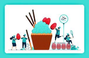 halal voedsel menu illustratie van zoete cupcake. verse aardbeien en chocoladesticks voor het toppen van muffins. ontwerp kan worden gebruikt voor website, web, bestemmingspagina, banner, mobiele apps, ui ux, poster, flyer