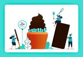 illustratie van kok halal zoete cupcakes en bakkerij. muffin met gesmolten zoete chocolade en cacao-topping. ontwerp kan worden gebruikt voor website, web, bestemmingspagina, banner, mobiele apps, ui ux, poster, flyer vector