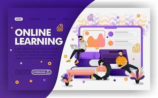 student studeert met internet vector web concept, afstandsonderwijs, e-learning. gemakkelijk te gebruiken voor website, banner, bestemmingspagina, brochure, flyer, print, mobiel, app, poster, sjabloon, ui ux