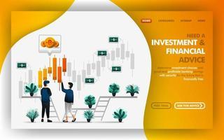 investeringen en financieel advies vector web illustratie, man verwijst en adviseert zijn vriend over een goede investeringskeuze. kan gebruiken voor website, banner, brochure, flyer, print, mobiel, poster, ui
