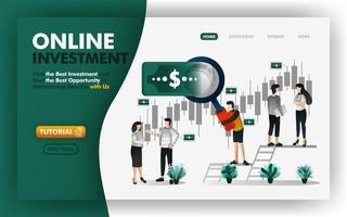 online investeringen en bankwezen vectorillustratie. mannen met gigantische loepen zullen u advies geven om winstgevende investeringen te bepalen. kan gebruiken voor website, banner, brochure, flyer, print, mobiel, ui vector