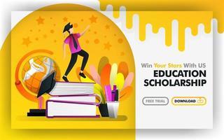 vector illustratie concept. gele banner website over onderwijsbeurs. vrijgezel proberen om sterren te bereiken zijn omringd door wereldbol en briefpapier. geschikt voor print, online. platte cartoon stijl