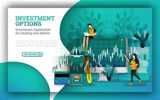 platte illustraties voor toonaangevende beleggingsfondsen bieden opties om te antwoorden op hoe geld te beleggen. Investeren voor beginners met aandelen kopen maakt gebruik van strategieën. breid uw portefeuille uit om kapitaal te verhogen. vector