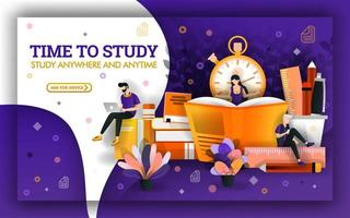 vectorillustratie van studietijd. onderwijs actuele gebeurtenissen vereisen studenten om te profiteren van studietijd. studenten leren met technologie en boeken om leervaardigheden en leermiddelen te verbeteren vector