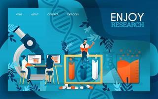 wetenschappers genieten van het onderzoek naar medicijnen en vloeibare stoffen. platte cartoon vectorillustratie vector