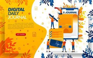 applicatie schrijft een tijdschrift voor journalistiek, schrijft een tijdschrift of artikel met smartphone, concept vector ilustration. kan gebruiken voor, bestemmingspagina, sjabloon, ui, web, mobiele app, poster, banner, flayer