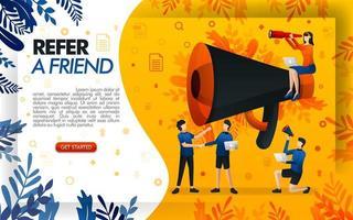 gigantische megafoon voor online promotie en verwijzingsprogramma's. verwijs naar de website van een vriend, mensen die elkaar de hand schudden en een deal sluiten, concept vector ilustration. kan gebruiken voor, pagina, mobiele app, poster, flayer
