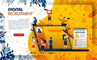 digitale online rekrutering voor bedrijven en werkzoekenden. aanvraag voor hr en personeel, concept vector ilustration. kan gebruiken voor, bestemmingspagina, sjabloon, ui, web, mobiele app, poster, banner, flayer