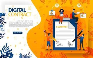 online handtekeningen voor overeenkomsten en contracten. mensen die overeenkomst en contract, concept vector ilustration hebben ondertekend. kan gebruiken voor, bestemmingspagina, sjabloon, ui, web, mobiele app, poster, banner, flayer