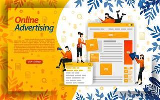 online advertenties. adverteren op zoekmachines. advertentieplaatsing en ppc betalen per klik, concept ilustration. kan gebruiken voor bestemmingspagina, sjabloon, ui, web, mobiele app, poster, banner, flyer, document, website