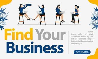 sollicitatiegesprekken voor bedrijven, bedrijven en diensten met de woorden vind uw bedrijf, concept vectorillustratie. kan gebruiken voor bestemmingspagina, sjabloon, ui, web, mobiele app, poster, banner, flyer vector
