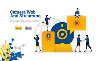camera en streaming web, digitaal internet video en media ontwikkeling vector illustratie concept kan worden gebruikt voor, bestemmingspagina, sjabloon, ui ux, web, mobiele app, poster, banner, website