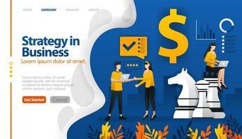 bedrijfsstrategie met schaken en geld, marketingplanning vector illustratie concept kan worden gebruikt voor, bestemmingspagina, sjabloon, ui ux, web, mobiele app, poster, banner, website