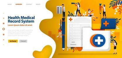 gezondheid medisch dossier systeem. map met kruissymbool en registratieformulier. vector illustratie concept kan worden gebruikt voor bestemmingspagina, sjabloon, ui ux, web, mobiele app, poster, banner, website
