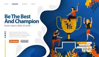 wees de beste en kampioen, trofee voor nummer één, prijs voor winnaar vector illustratie concept kan worden gebruikt voor bestemmingspagina, sjabloon, ui ux, web, mobiele app, poster, banner, website