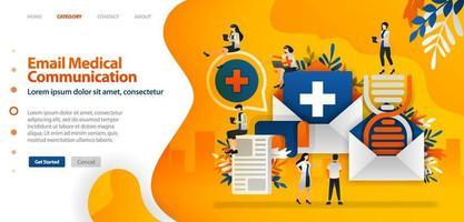 medische geschiedenis en DNA worden per e-mail verzonden om de communicatie tussen gezondheidsdocumenten te vergemakkelijken. vector illustratie concept kan worden gebruikt voor bestemmingspagina, ui ux, web, mobiele app, poster, banner, website