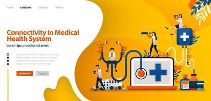connectiviteit in het medische gezondheidssysteem. software in medicatiedienst en patiëntgeschiedenis. vector illustratie concept kan worden gebruikt voor bestemmingspagina, sjabloon, ui ux, web, mobiele app, poster, banner, website