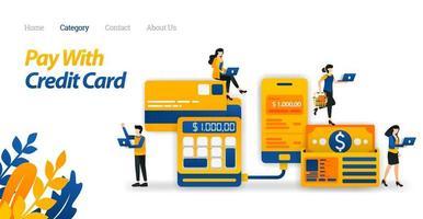creditcardbetalingen om het gemakkelijker te maken om uitgaven te beheren en geld te besparen. vectorillustratie, platte pictogramstijl geschikt voor weblandingspagina, banner, flyer, sticker, behang, kaart, achtergrond, ui