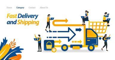 snelle levering en verzendservices vanuit online winkels of e-commerce. vectorillustratie, platte pictogramstijl geschikt voor weblandingspagina, banner, flyer, sticker, behang, kaart, achtergrond vector