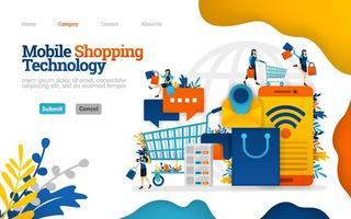 mobiele winkeltechnologie, het beheren van boodschappen en dagelijkse benodigdheden met e-commerce. vector vlakke afbeelding concept, kan gebruiken voor bestemmingspagina, sjabloon, ui, web, startpagina, poster, banner, flyer