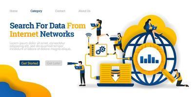 zoeken naar gegevens van internetnetwerk. analyseer data zoekresultaten om op te slaan in de database. vector vlakke afbeelding concept, kan gebruiken voor bestemmingspagina, sjabloon, ui, web, startpagina, poster, banner, flyer