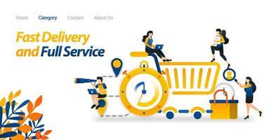 ontwerp snelle levering en volledige service met pin, stopwatch, winkelwagentje en mandje. vector illustratie platte pictogramstijl geschikt voor weblandingspagina, banner, flyer, sticker, behang, achtergrond