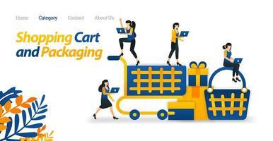 winkelwagenontwerp voor web- en e-commercedoeleinden. gebruik karren en mand om te winkelen. vector illustratie. platte pictogramstijl geschikt voor weblandingspagina, banner, flyer, sticker, behang, achtergrond