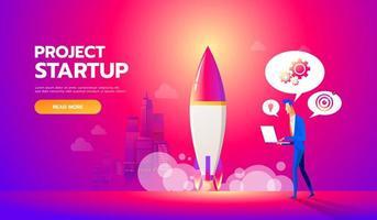 zakenman lanceert raket in de lucht. opstarten van bedrijven concept platte vectorillustratie. werknemer houdt toezicht op het opstijgen van een ruimteschip.