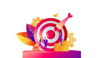 bedrijfsconcept vectorillustratie, doelwit met een pijl, het doel raken, het bereiken van het doel