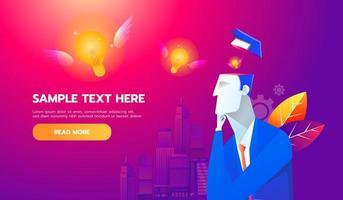nieuw idee concept. vliegende lamp van zakenmanhersenen, platte ontwerp beste vector pictogram