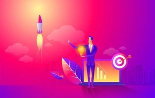 start raketschip in een vlakke stijl. opstarten van bedrijven werk momenten platte banner. nieuwe ideeën, zoektocht naar investeerder, hogere winsten. zakelijke situatie. zakenman lancering opstartraket naar de ruimte. vector